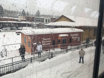 View of Truckee Amtrak Station from The Amtrak Train.
