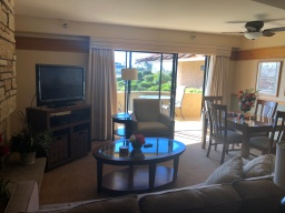 Living room inside studio at Harbortown Point Marina Resort & Club (flowers not included)