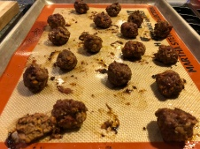 Cooked meatballs, I ate one..