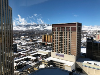 Room View from our Hotel, The Silver Legacy, by Amtrak Station (Snowball Fight)